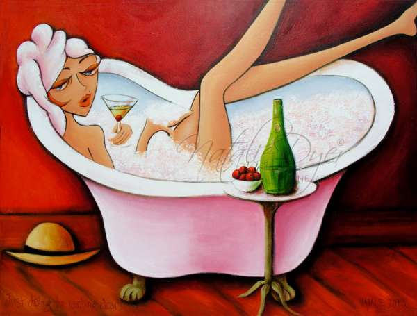 Just doing the washing Dear, one of Natalie Dyer's favourite Women with attitude series of all time. This sassy woman in a bathtub surrounded by bubbles in her bath and champagne in her glass. Created by Natalie Dyer sunshine coast artist.