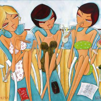 Three Sassy Women Sipping Cocktails In Their Costumes Out On The Deck Of A Cruiseship