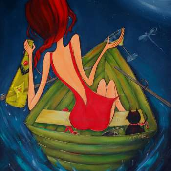 Whimsical Woman In Red Dress In A Pea Green Boat With Her Cat Finding A Bottle With A Love Letter In It