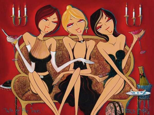 Three Woman From Natalie Dyer's Famous Women With Attiitude Series Gossipping And Drinking Champagne