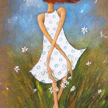 Natalie Dyer's Painting Of A Cute Young Girl Amongst The Daisies And Dtragonflies